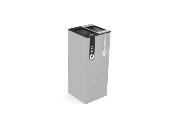 Variobin brushed metal2 afvalsoorten 2 glas